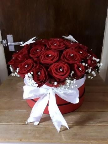 Red rose Diamente Hatbox