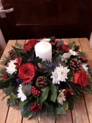 Red and white Christmas Candle Wreath